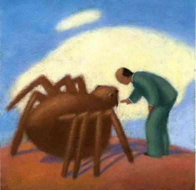 L`homme et l`araignée en association dans le futur